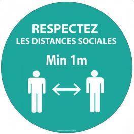 Panneau Respectez vos distances bleu Autocollant/PVC Diam: 315mm