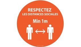 Panneau Respectez vos distances orange Autocollant Diam: 315mm