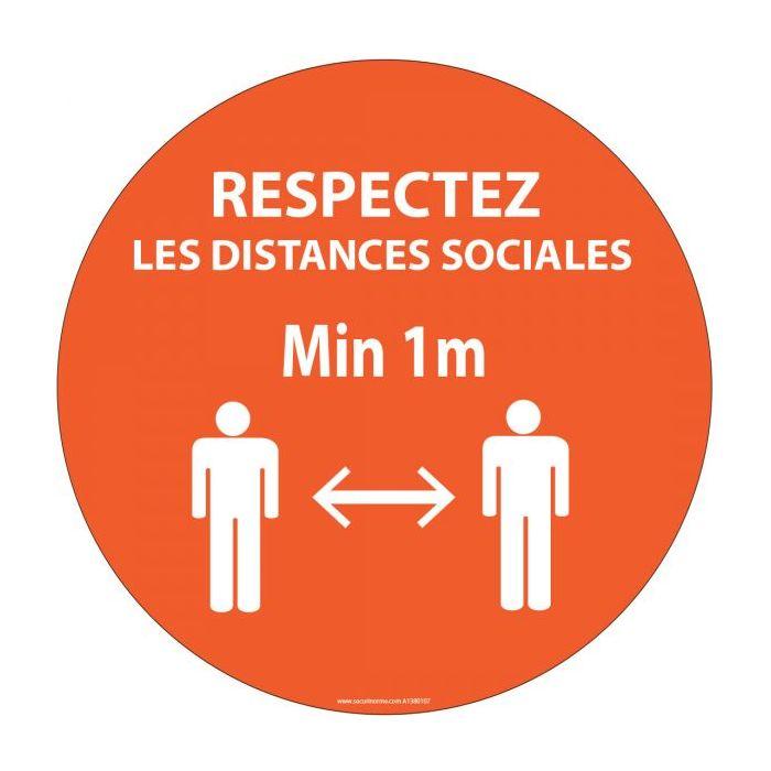 Panneau Respectez vos distances orange Autocollant/PVC Diam: 315mm