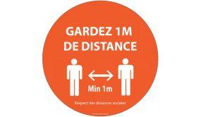 Panneau Gardez 1m de distance orange Autocollant Diam: 315mm