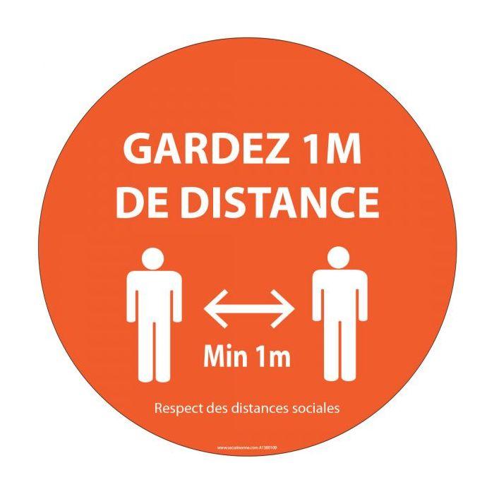 Panneau Gardez 1m de distance orange Autocollant/PVC Diam: 315mm
