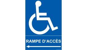 Panneau Direction gauche - Rampe d'Accès - + Picto Handicapé