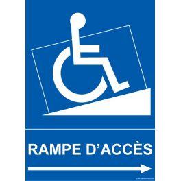 """Panneau """"Rampe d'accès"""" pour handicapé + picto"""