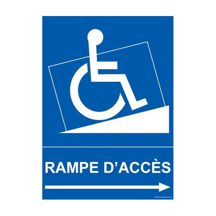 Panneau pmr signal tique rampe d 39 acc s fl che droite for Rampe d acces handicape