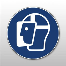 Panneau Visière de protection obligatoire - M013 -Pictogramme d'Obligation ISO 7010