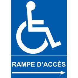 """Panneau """" Rampe d'accès"""" droite + picto handicapé"""""""