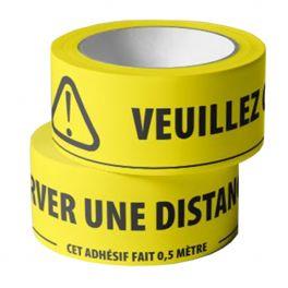 Adhésif de marquage au sol -Veuillez conserver une distance d'1,5m - jaune