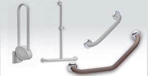 Barre de maintien douche et WC pour sanitaires PMR