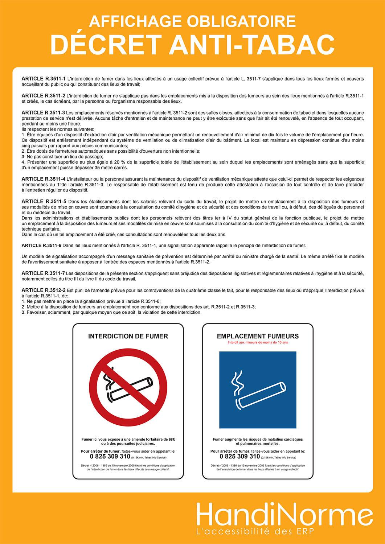 Affichage obligatoire décret anti-tabac