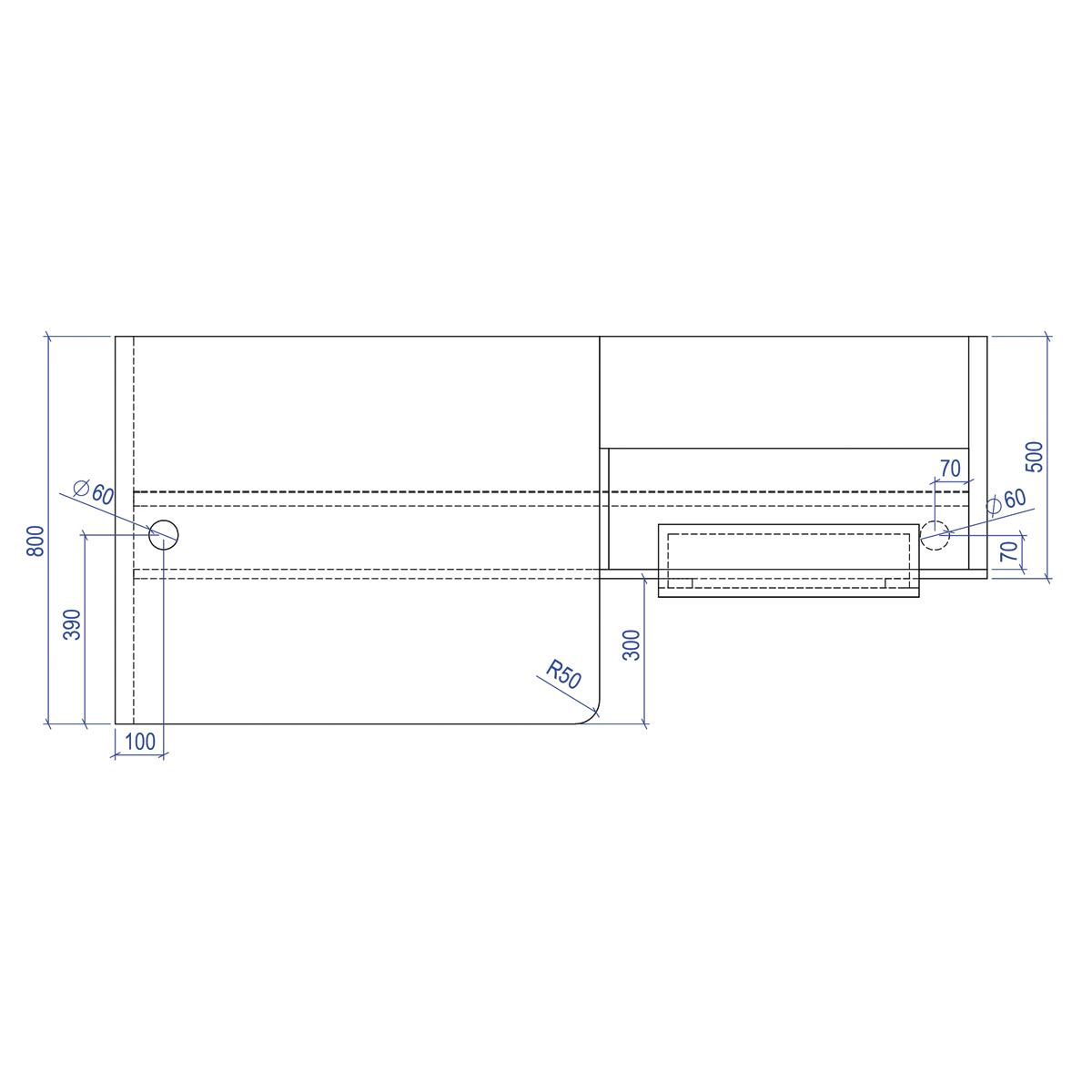 Schema de haut de la banque d'accueil avec dimensions