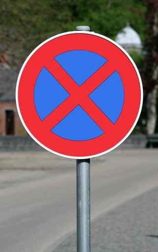 Panneau interdiction stationnement 2 sens