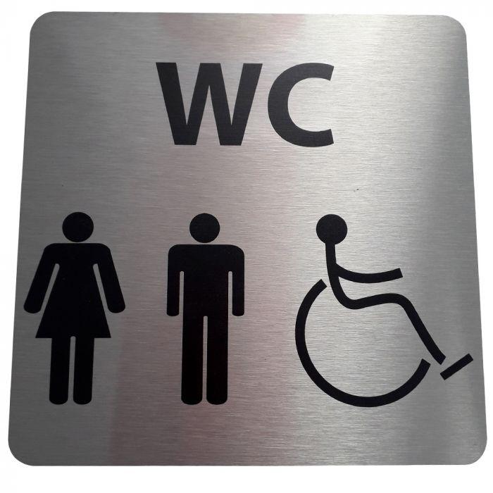 pictogramme WC en aluminium brossé