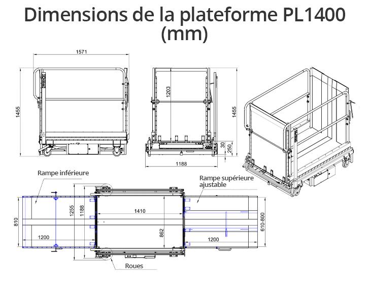 dimensions plateforme élévatrice LP1400