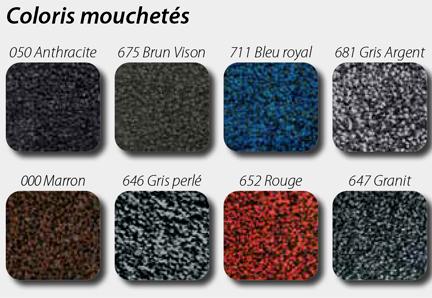 coloris mouchetés pour tapis personnalisable