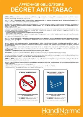 affichage obligatoire decret anti tabac
