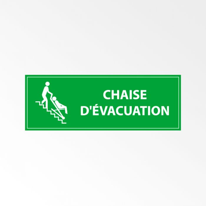 Panneau d'information chaise d'évacuation
