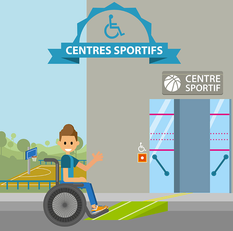 illustration centre sportif accessible entree