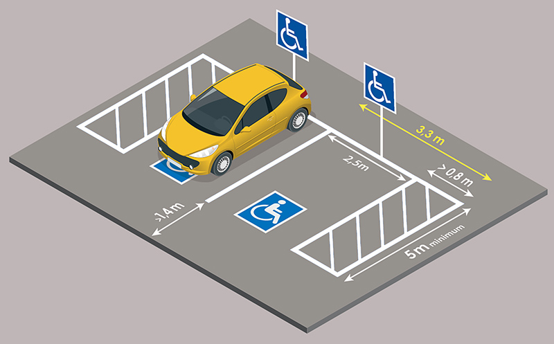 dimensions places de parking PMR