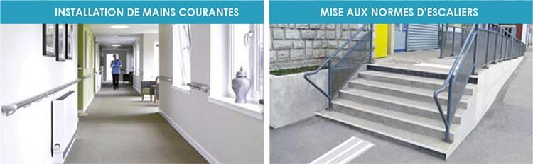 L'installation des mains courantes , La mise aux normes d'escaliers