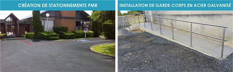Création de stationnement PMR / Installation de Garde-corps en acier galvanisé