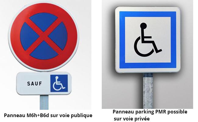 Panneaux stationnement PMR voie publique, voie privée