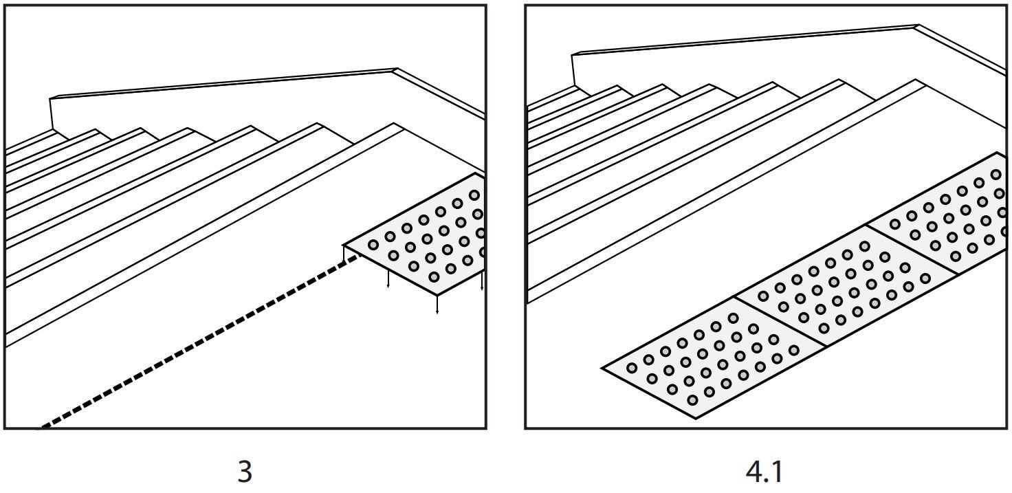 Pose d'une dalle podotactile auto-adhésive étapes 3 et 4.1